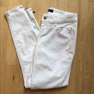 White Skimmer Zip Skinny Jeans Women's Size 2